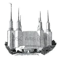 Washington DC LDS Temple Ink Drawing 8 x 10 Inch Print (Wall Decor, Wall Art)
