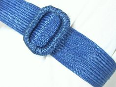 Vintage 1980's Blue Woven Cinch Belt Size 10 to 12, Medium