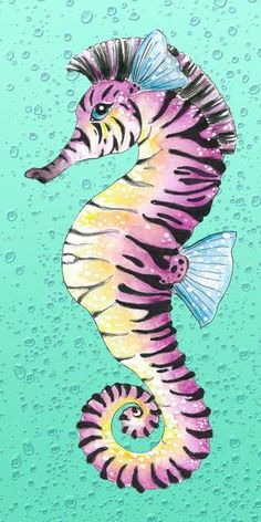 Marvelous Drawing Animals In The Zoo Ideas. Inconceivable Drawing Animals In The Zoo Ideas. Seahorse Drawing, Seahorse Art, Seahorse Painting, Seahorses, Creature Drawings, Animal Drawings, Sea Life Art, Turquoise Art, Art Folder