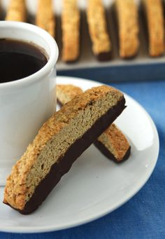 Vegan Vanilla Biscotti... Excellent recipe!  I added walnuts and did not put chocolate on top, I also added some oats for crunch.  I will use almonds next time. #vegan
