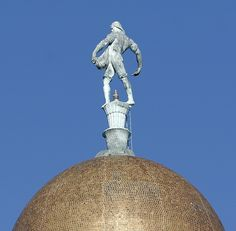 "Nice close-up of Lee Lawrie's sculpture ""Sower"" atop the dome of the Nebraska State Capitol in Lincoln."