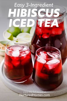 Sweet Tea Recipes, Iced Tea Recipes, Drink Recipes, Hibiscus Recipe, Hibiscus Tea, Smoothie Drinks, Smoothies, Fruity Drinks, Alcoholic Beverages