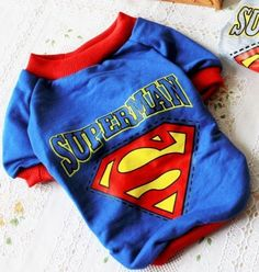 Cute Small Pet Dog Puppy Clothes Clothing Super man T Shirt, Blue Size S