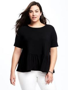 Relaxed Plus-Size Peplum Top