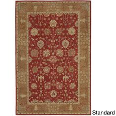 Nourison Hand-tufted Heritage Hall Brick Floral Wool Rug (12' x 15'-Standard), Red, Size 12' x 15'