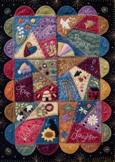 A crazy stitched wool wall hanging comprised of 6 inch squares. Finished size is 17 x 23 inches. Motifs Applique Laine, Wool Applique Patterns, Felt Applique, Applique Quilts, Block Patterns, Embroidery Patterns, Crazy Quilt Patterns, Crazy Quilt Tutorials, Crazy Quilt Stitches