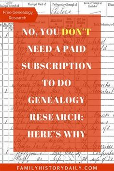 Find Out How to Research Your Family History for Free Looking for genealogy research options that are truly free and don't require a paid subscription? This collection of resources will help. Free Genealogy Sites, Genealogy Research, Family Genealogy, Genealogy Chart, Free Genealogy Records, Genealogy Humor, Ancestry Records, Genealogy Forms, Family Tree Research