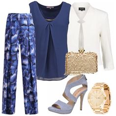 Semplice, ma non banale, ideale per una cerimonia di giorno. Fresco e primaverile il pantalone in fantasia floreale sui toni del blu, coordinato al sandalo alto e alla blusa. Il blazer bianco illumina l' insieme. Gli accessori, in oro, scaldano ed impreziosiscono.