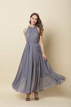 1c3b157c2b12 110 Color Chiffo Grey Long Party Dress Evening Wedding Sundress Maternity  Dress Summer Holiday Beach