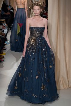 Valentino Spring 2015 Couture - midnight blue chiffon maxi dress with bronze sequins and stars
