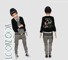 LITTLETODDS Click picture to enlarge ❤ Clothes Giruto 54 EMB Jacket Gail Mounier-k-creation link Jeans link Pixicat High Converse Kids link Beanie link ❤ HairAnto Ocean link CC on Model Toddler Hair Sims 4, Sims Baby, Sims 4 Cc Kids Clothing, Kid Clothing, Kids Clothes Boys, Men Clothes, Kids Boys, Sims 4 Mm, My Sims