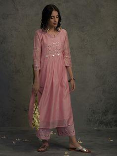 Pink Mirror Work Gathered Chanderi Kurta with Cotton Flared Palazzo and Dupatta - Set of 3 Salwar Designs, Kurta Designs Women, Kurti Designs Party Wear, Dress Designs, Pakistani Dresses Casual, Indian Gowns Dresses, Pakistani Dress Design, Indian Designer Outfits, Designer Dresses