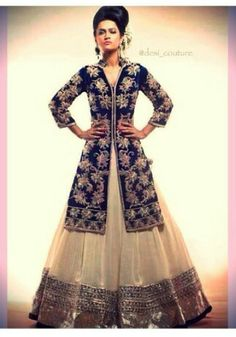 white #lehenga  with blue velvet jacket