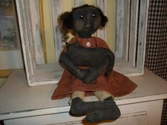 Primitive Handmade Milla Doll and Her Kitty by DuckCreekPrimitive