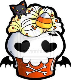 Halloween Skull Cupcake by YamPuff.deviantart.com on @deviantART