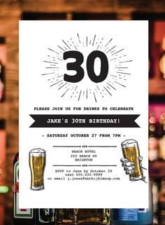 ccb7095fd 30th Beer invitation, Beer invitation, Beer invite, 30th Beer Party,  editable invitation