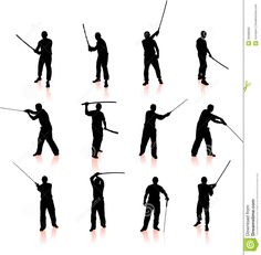 Ninja Silhouette Collection Stock Photography - Image: 36588292