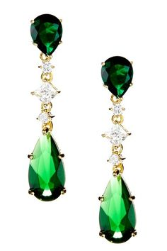 Green Teardrop Dangle Earrings