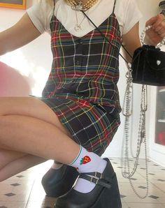 Sanna Slip Dress in Plaid Red Green Yellow and Black by Motel Fashion 90s, Tokyo Street Fashion, Indie Fashion, Aesthetic Fashion, Aesthetic Clothes, Fashion Outfits, Punk Goth Fashion, Skater Girl Fashion, Black 90s Fashion