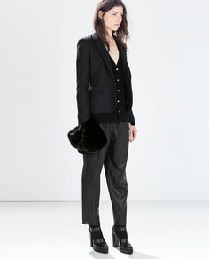 Zara Woollen Blazer With Elbow Patches + Cashmere Cardigan With Side Slits + Leather Effect Trousers + High Heel Track Sole Shoes