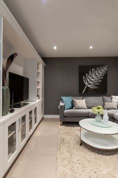 Rec room or recreational room can be the most favorite room in the house. Here are 23 rec room ideas for your inspiration! Basement Decor, Small Basements, Basement Colors, Family Room, Gray Basement, Room Remodeling, Room Redesign, Home Decor, Rec Room Basement