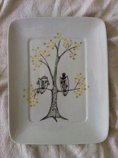 Wedding Owl Platter, susan steele meyer art on etsy
