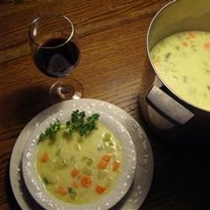 Cheesy Vegetable Chowder  Allrecipes.com -- Low calorie soup would go great with a biscuit or two. :-)