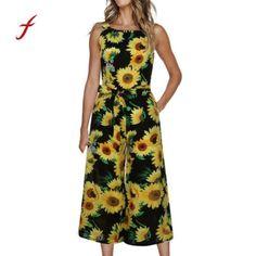 982550efae3 Jumpsuit women sleeveless floral print jumpsuit casual wide leg pants  holiday outfits bodysuit women combinaison femme
