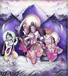 Lord Shiva and Lord Krishna dancing with Lord Ganesh