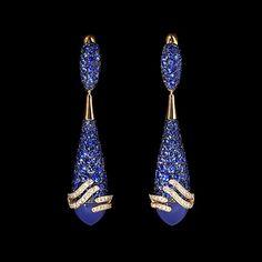 Earrings Fuji - Mousson Atelier Yellow gold, Chalcedony 9,49 ct., Sapphires, Diamonds