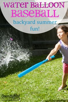 Backyard Summer Fun: Water Balloon Baseball - Water Balloons - Ideas of Water Balloons - Looking for a fun and frugal summer activity to stave off the boredom? Try water balloon baseball right in your own backyardit's cheap and easy and the Summer Activities For Kids, Nanny Activities, Water Games For Kids, Family Outdoor Activities, Kid Party Activities, Outside Kid Activities, Outside Toys For Kids, Party Games For Kids, Pep Rally