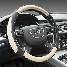 SEG Direct Microfiber Leather Auto Car Steering Wheel Cover Universal 15 inch Black and Beige SEG Direct Car Seat Cover Pattern, Car Seat Pad, Mountain Bike Wheels, Car Steering Wheel Cover, Steering Wheels, Winter Car, Vossen Wheels, Rims For Cars, Sewing Leather