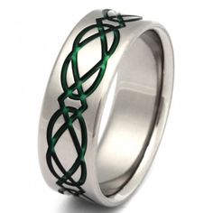 Take your dream vacation and stroll the fresh hills of Ireland – or at least think about it with this titanium Irish Celtic Titanium Promise ring, seen here in 7mm with a flat profile. Its flowing Celtic design in vibrant emerald represents love, friendship, and infinity and lets you know that there will always be good things in life. Handmade in the USA.