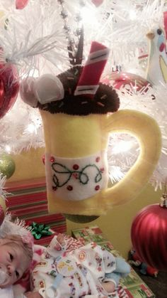new felt Christmas ornament. My design. A cup of cocoa. D. Estephan.