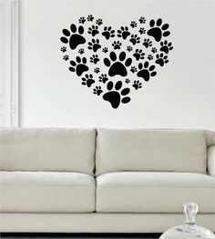 Dog Paw Print Heart Design Decal Sticker Wall Vinyl Decor Art