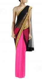Hot Pink, black and golden #saree