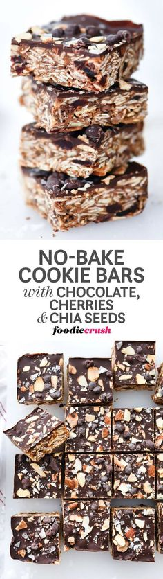 These no-bake bars are packed with healthy ingredients and just the right amount of chocolate decadence to make a treat worthy of breakfast, snack-time or dessert | http://foodiecrush.com #dessert #healthy #oats #chocolate #nobake