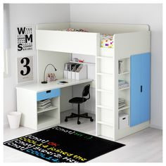 STUVA Loft bed combo w 1 drawer/2 doors White/blue 207x99x193 cm  - IKEA