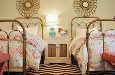 AMAZING in every way! brass beds + mirrors, fun bedding, chevron rug, ...  via lifeingrace.com & fieldstonehillldesign.com