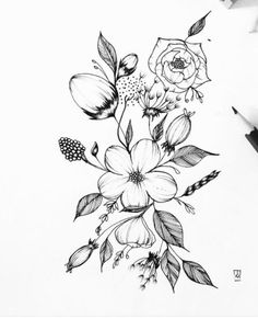 Add a pretty floral illustration to your bullet journal  #journaling #doodles #creativeoutlet #botanicalillustration