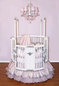 Wow-- 3 years ago I introduced my pink & silver Alexa Crib Linens & today pink & silver is still going strong!!!! This was really pretty on the round crib too!!!