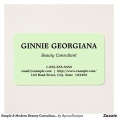 Simple & Modern Beauty Consultant Business Card