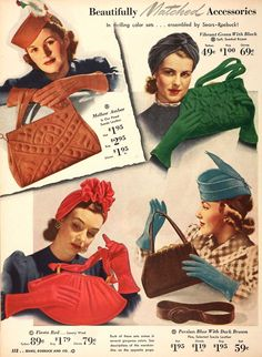 Vibrant colored gloves, hats and handbags from a 1940s Sears and Roebuck catalog. #vintage knit crochet knot red brown green orange tan photo print ad model illustration