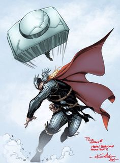 Thor throwing his hammer