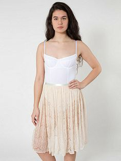 Lace Mid-Length Skirt | American Apparel