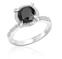 $229.99 - 2 Carat Black Diamond and 0.12 Carat White Diamond Ring in Sterling Silver