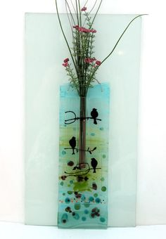fused glass Decorated Wall Vase