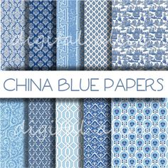 CHINA BLUE TEXTURES Paper Pack Digital Papers  10 by DigitalAlice