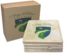 """4"""" x 4"""" Italian Botticino Marble Tumbled Stone 4-Piece Coaster Sets - an #elegant #gift idea that will look spectacular imprinted with your #logo or message."""