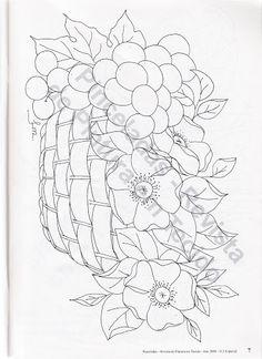 risco para pintura em tecido - flores - frutas